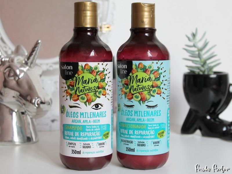 Shampoo e condicionador Maria Natureza Óleos Milenares Salon Line
